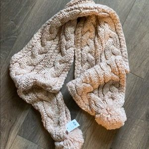 Francesca's cable knit sweater rose scarf